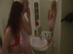 two lezzies playing with dildo